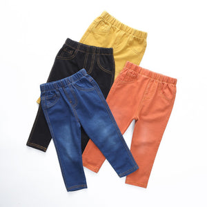 Blue, Black, Orange, Yellow Denim Jean Collection Leggings Kid Child Baby Toddler New Born Infant Pants - Cozzoo