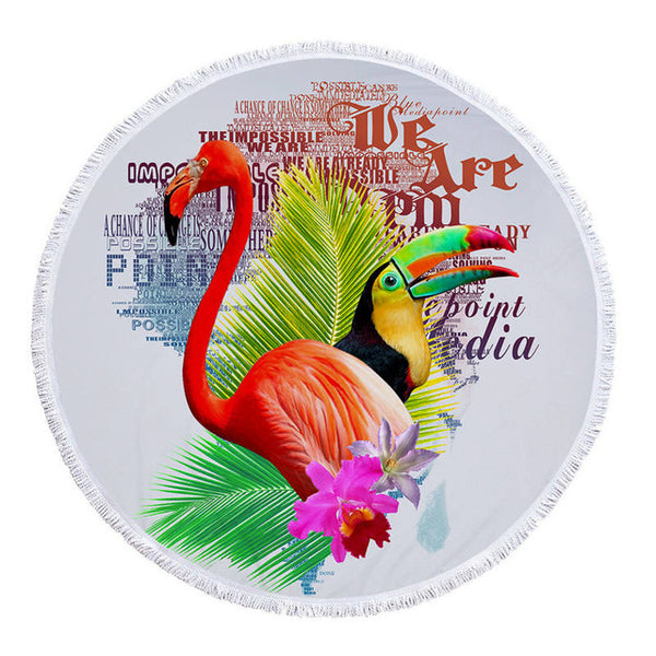 Tropical Birds And Plants Round Beach Towels - Cozzoo