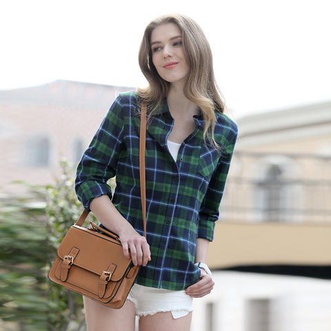 Women's Plaid Shirt Tartan Blouse Button Down 10+ Colors - Cozzoo