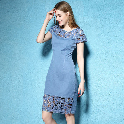 Blue And Dark Blue Floral Lace Denim Jean Dress - Cozzoo