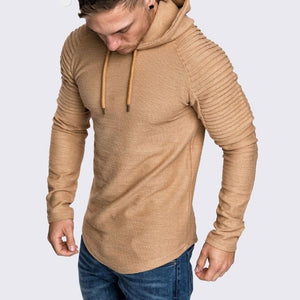 Hoodie Sweater Long Pleated Sleeves Men Longline Extra Long Oversized Tall Tees - Cozzoo
