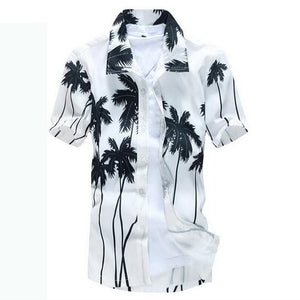 Coconut Tree Hawaiian Button Down Polo Shirts - Cozzoo