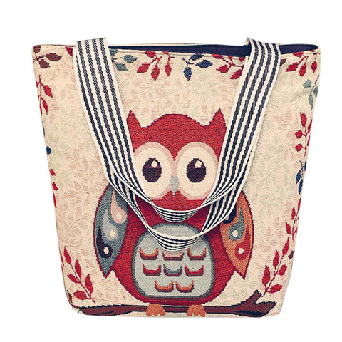 Red Owl Handbag/Shoulder Shoulder Beach Tote Purse Canvas Handbags Totes Bags - Cozzoo