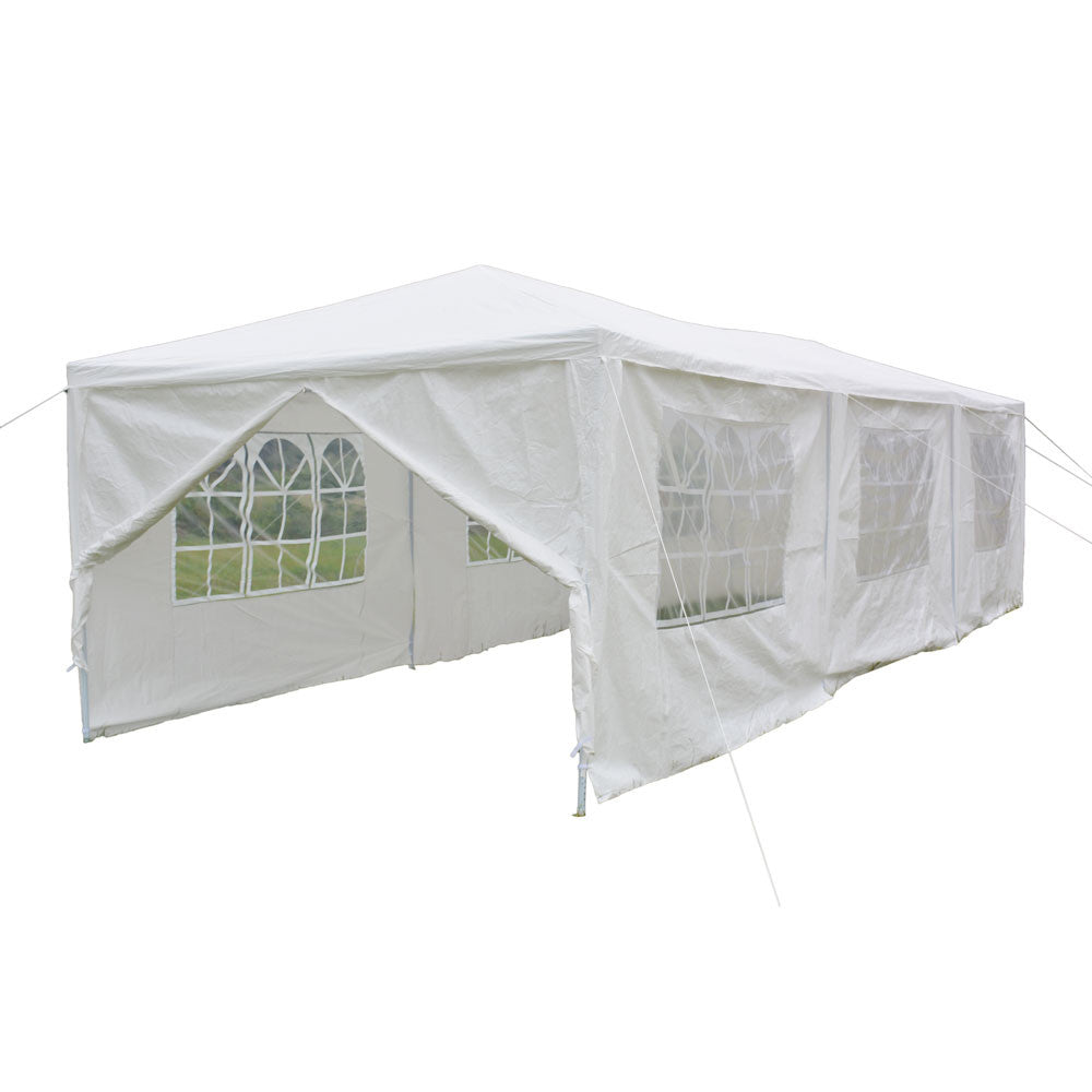 10'x30' 8 SideWalls Canopy Party Wedding Tent White Gazebo Pavilion White Color - Cozzoo