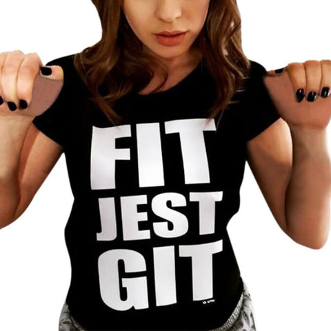 Fit Jest Git - Women's Sexy Crop Top Cap-Sleeve T-Shirt - Cozzoo