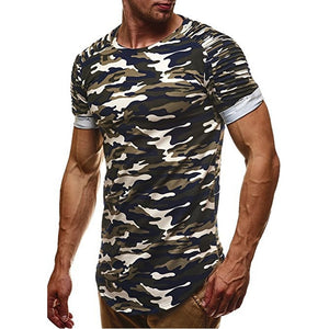 Camouflage Slim Fit Men Longline Shirts Extra Long Oversized Tall Tees - Cozzoo
