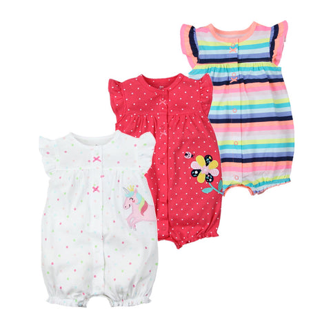 Stripes, Flower, Unicorn Collection New Born Infant Baby Romper Jumpsuit - Cozzoo