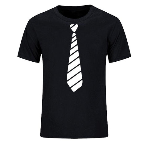 Stripes Neck Tie - Men's Casual O-neck T-shirt - Cozzoo
