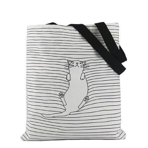 Cute Napping Cat Handbag/Shoulder Shoulder Beach Tote Purse Canvas Handbags Totes Bags - Cozzoo