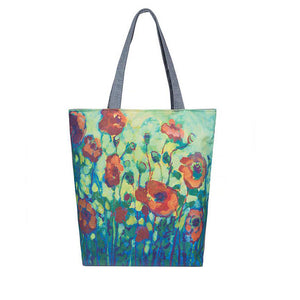 Floral Handbag/Shoulder Shoulder Beach Tote Purse Canvas Handbags Totes Bags - Cozzoo
