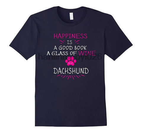 Happiness Is A Good Book A Glass Of Wine Dachshund T-Shirts - Men's Top Tee - Cozzoo