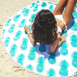 Pineapple Tassel Tapestry Round Beach Towels - Cozzoo