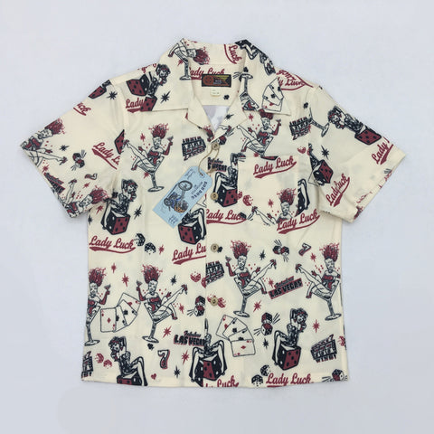 Lady Luck Cards Aloha Hawaiian Button Down Men's Polo - Cozzoo