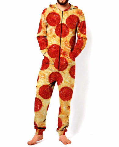 Funny Adult Onesie -  Pepperoni Pizza - Pajamas Jumpsuit Men's Women's - Cozzoo