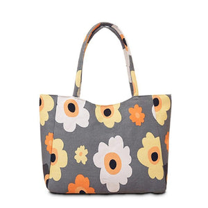 Orange and White Floral Handbag/Shoulder Shoulder Beach Tote Purse Canvas Handbags Totes Bags - Cozzoo