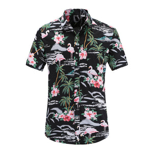 Flamingo Hawaiian Beach Button Downs Polo Shirts - Cozzoo