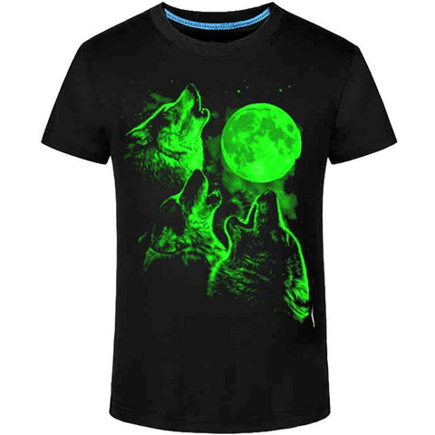 Green Wolves Howling Animal Glow In The Dark T-Shirt - Cozzoo