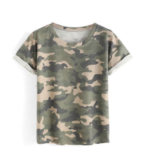 Army Green Women Camouflage T-Shirt - Cozzoo