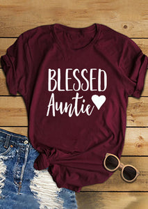 Blessed Auntie Heart O-Neck T-Shirt Aunt Mom - Cozzoo