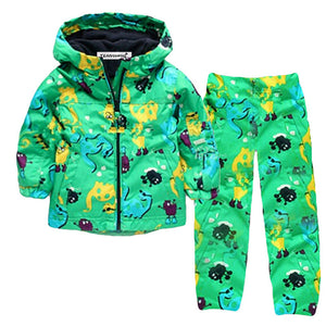 Yellow, Black, Sky Blue Dinosaurs Green Child Baby Toddler New Born Infant Winter Snow Coat Kid And Pants - Cozzoo