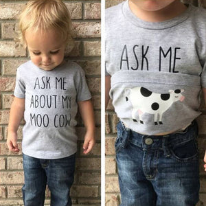 Ask Me About My Moo Cow Kid, Baby, Boys, Children T-Shirts - Cozzoo