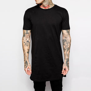 O-neck Plain Cotton Black And White Men Longline Shirts Extra Long Oversized Tall Tees - Cozzoo