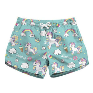 Womens Swim Trunks - Donuts Unicorns - Swimming Shorts Bathing Suits Swimwear Swimsuit Bathing Suit - Cozzoo