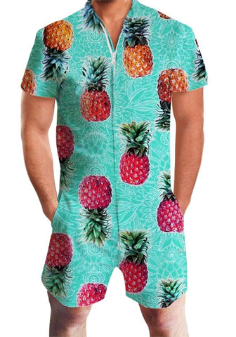 Funny Pineapple Lemon Print  Rompers Men Short Sleeve - Cozzoo