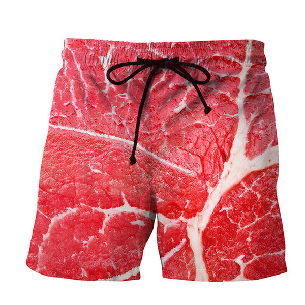 Mens Swim Trunks - Meat Beef - Swimming Shorts Bathing Suits Swimwear Swimsuit Bathing Suit - Cozzoo