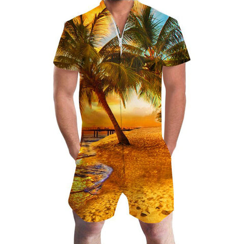 Coconut Tree Print Hawaii Rompers Men's Short Sleeve All Over Print - Cozzoo