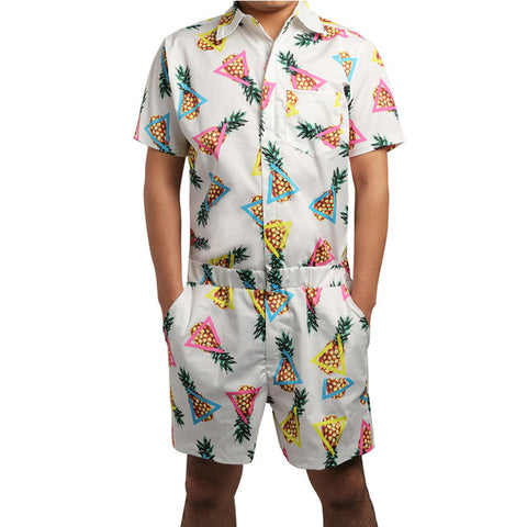 Pineapple Print Rompers Men's Short Sleeve All Over Print - Cozzoo