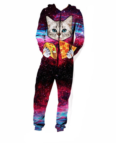 Men Onesies Cat Pizza Tacos Long Sleeve Hoodie Jumpsuit - Cozzoo