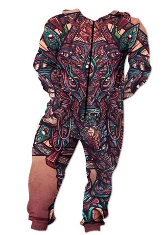 Elephant of Dreams Funny Adult Onesie Pajamas Jumpsuit Men's Women's - Cozzoo