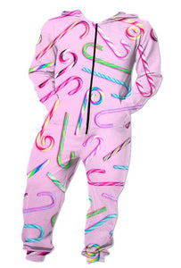 Funny Adult Onesie - Candy Cane  - Pajamas Jumpsuit Men's Women's - Cozzoo