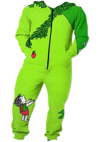 Funny Adult Onesie - Green Apple  - Pajamas Jumpsuit Men's Women's - Cozzoo