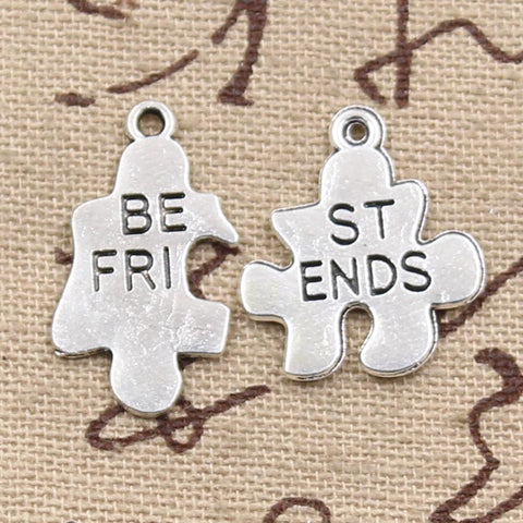 Best Friend Jewelry - BFF - Friendship - Jigsaw Puzzle Charms Bracelet and Necklace Pendants - Cozzoo