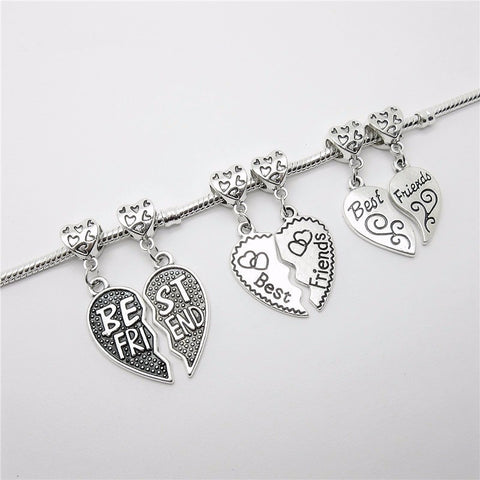 Best Friend Jewelry - BFF - Friendship - Silver Bead Charms Bracelets and Necklace Pendants - Cozzoo