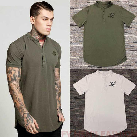 Silk Button Collar Men Longline Shirts Extra Long Oversized Tall Tees - Cozzoo