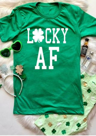 Lucky AF St Patrick's Day Irish T-shirt - Cozzoo