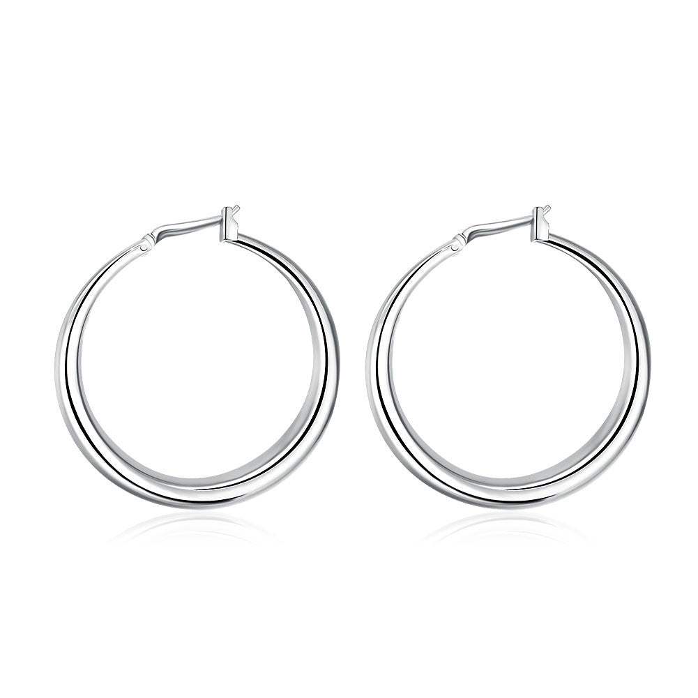 18K White Gold Plated Abstract Large Hoops - Cozzoo