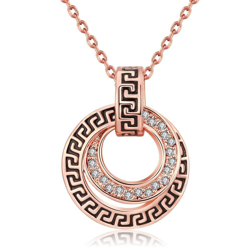 18K Rose Gold Plated Medallion StyleNecklace - Cozzoo