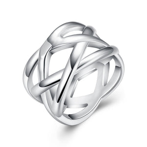 18K White Gold Plated Criss Cross X Ring - Cozzoo