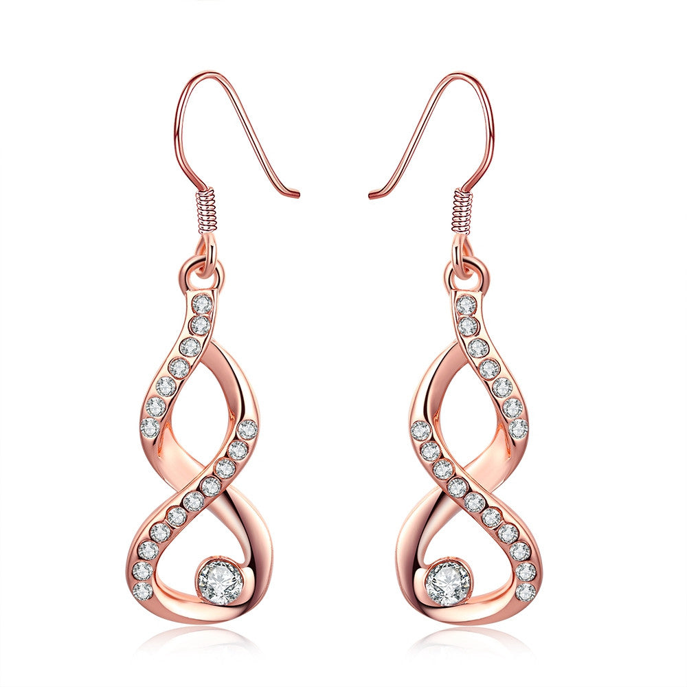 18K Rose Gold Plated Infinity Drop Earrings - Cozzoo