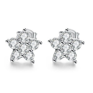 18K White Gold Plated Flower Studded Earrings - Cozzoo