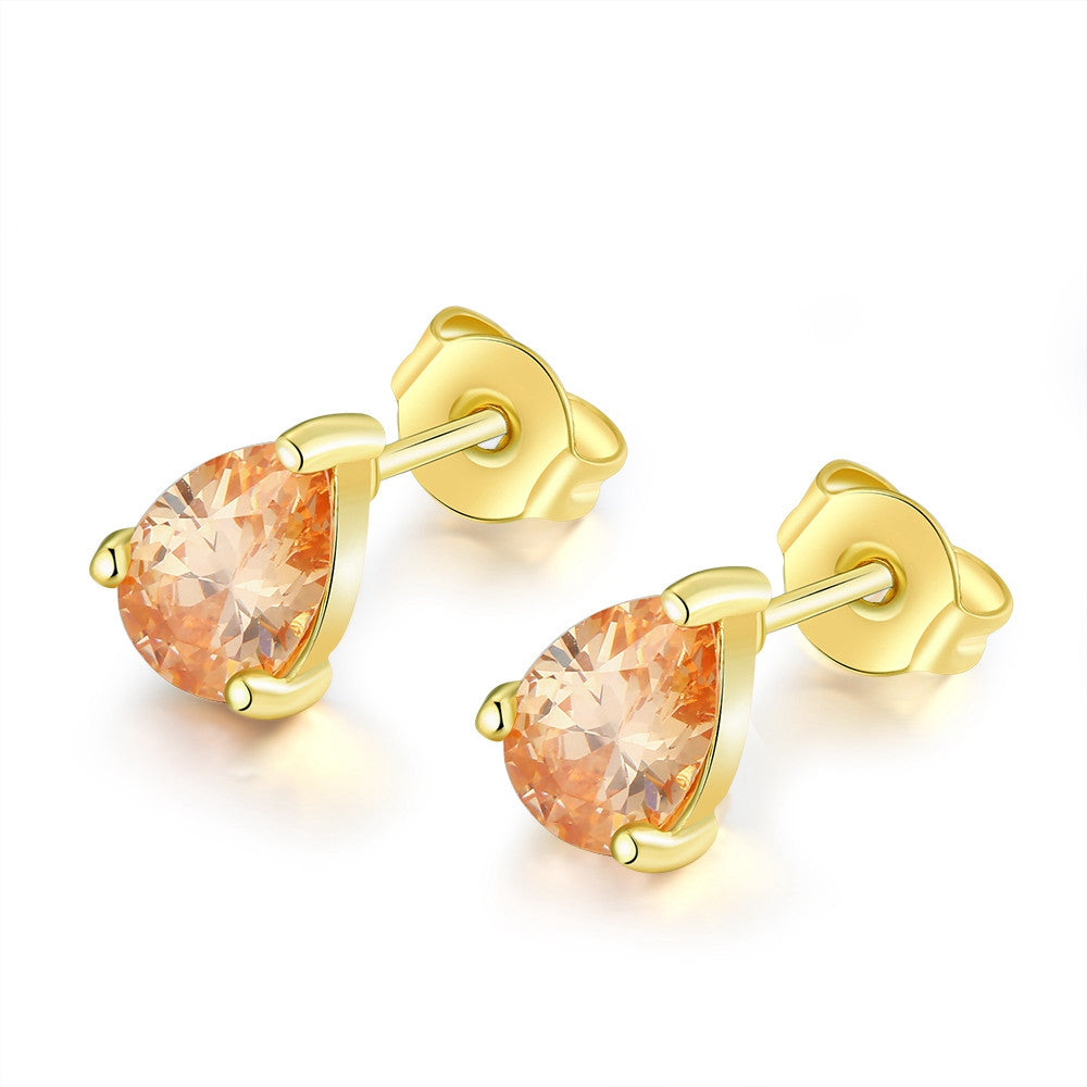18K Gold Plated Citrine Pair Studed Earrings - Cozzoo