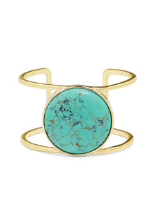 18K Gold Plated Turquoise Center Stone Bangle - Cozzoo