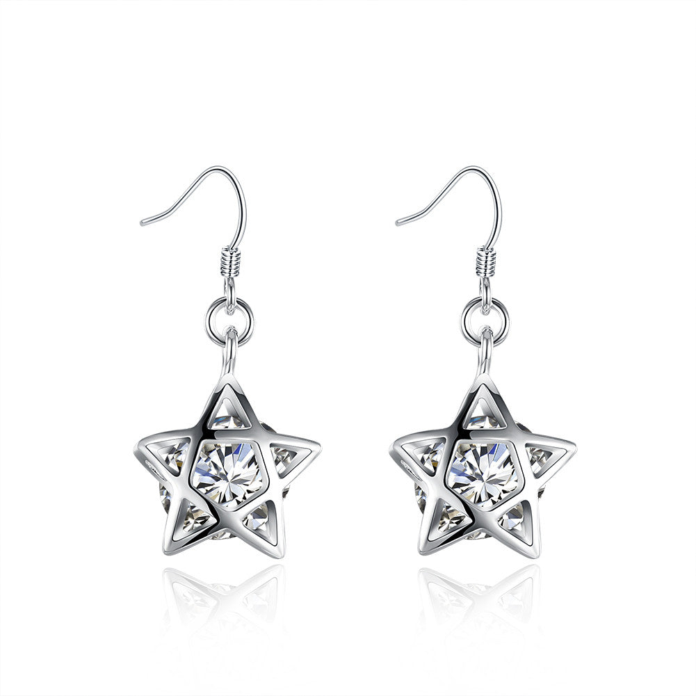 18K White Gold Plated Filled In Stars Shaped Earring - Cozzoo