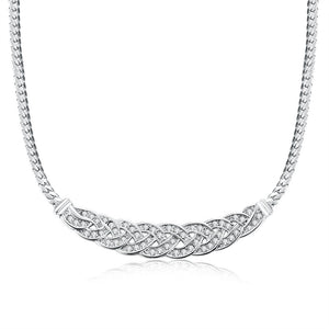 18K White Gold Plated Chained Loop Necklace - Cozzoo