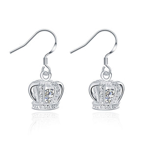 18K White Gold Plated Crown Shaped Drop Earring - Cozzoo