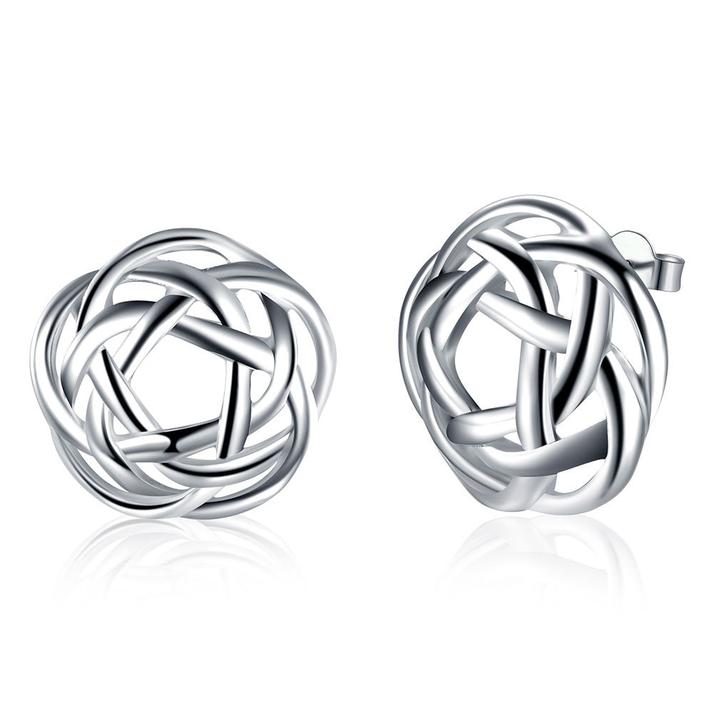 18K White Gold Plated Abstract Circular Stud Earring - Cozzoo